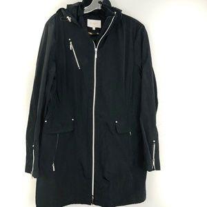 Laundry Shelli Segal Rain Jacket Anorak Black Hood